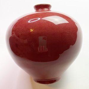 Vintage JS Cummings 84 Pottery Red Vase Bowl